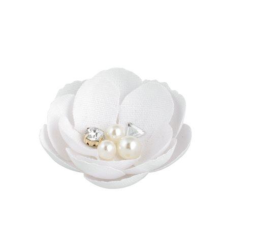 Fiore bianco con perle e strass