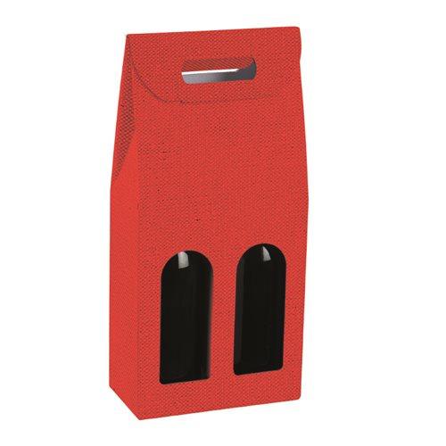 Valigetta 2 bottiglie lino rosso